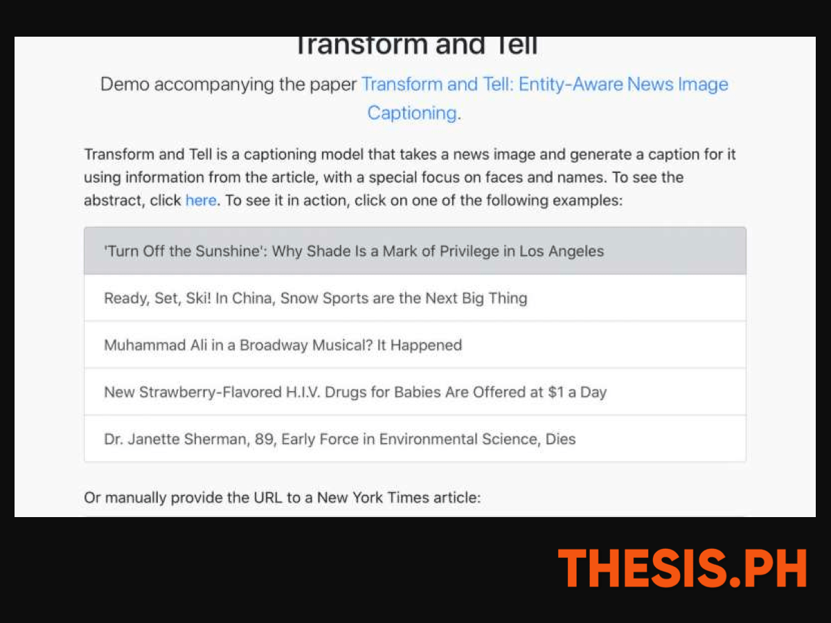 Developing Captions- Concepts Generated to the System's Improvement - Transform and Tell - THESIS.PH